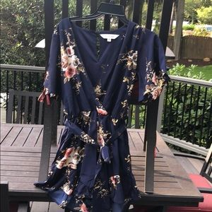 Medium blue floral romper